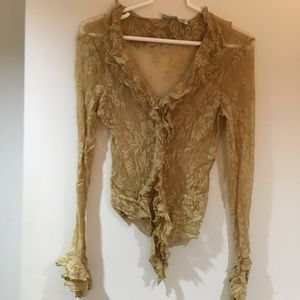 Newport News Sheer Lace Blouse.